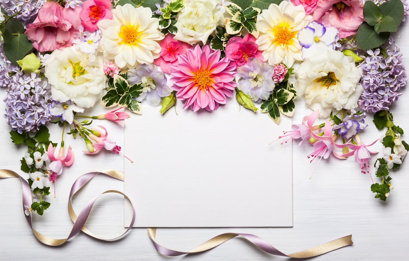 Photo wallpaper flowers, tape, wood, pink, flowers, beautiful, composition, frame, floral