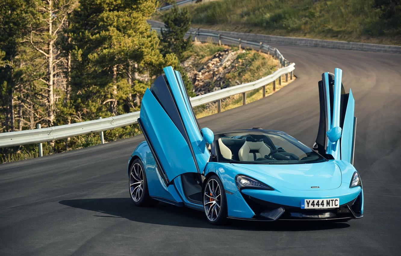 Photo wallpaper road, McLaren, spider, blue, 570S, Worldwide