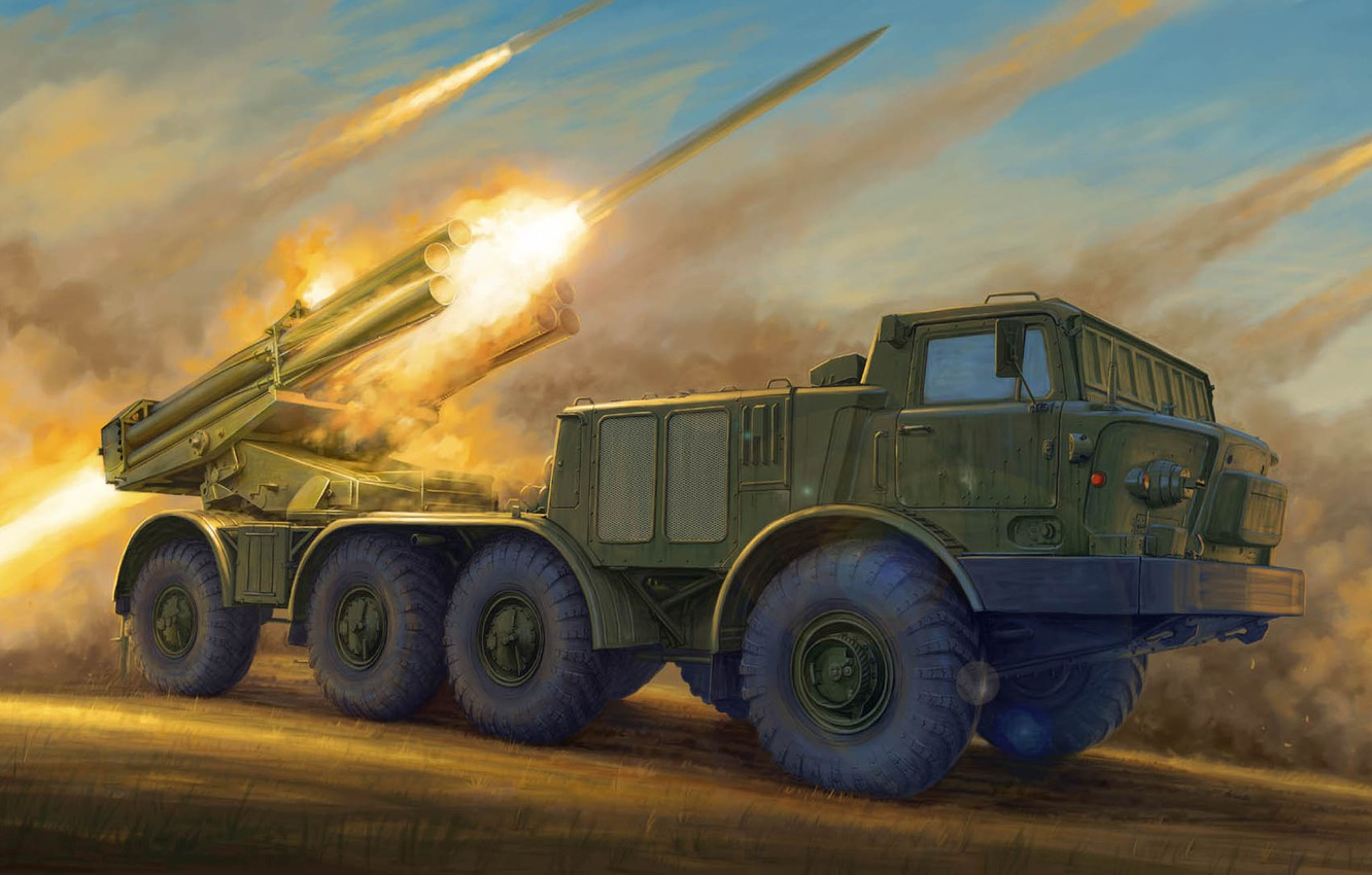 Photo wallpaper Hurricane, MLRS, 220 mm, Soviet jet system of volley fire, 9К57