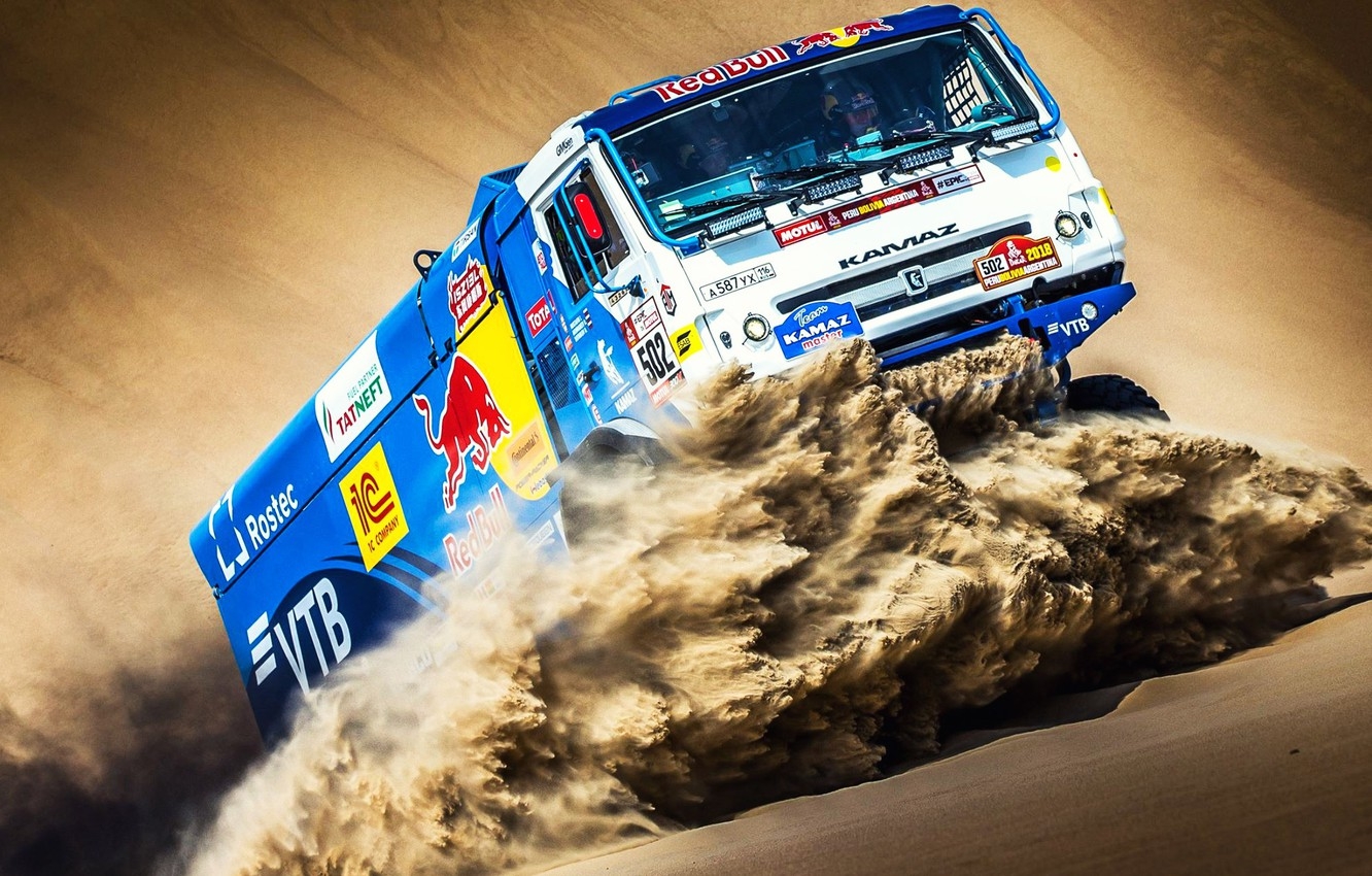 Photo wallpaper Sand, Sport, Speed, Truck, Race, Master, Russia, Kamaz, Rally, Dakar, KAMAZ-master, Dakar, Rally, KAMAZ, The ...