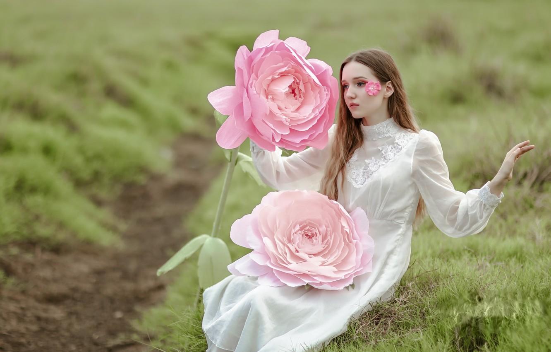 Photo wallpaper flower, girl, nature