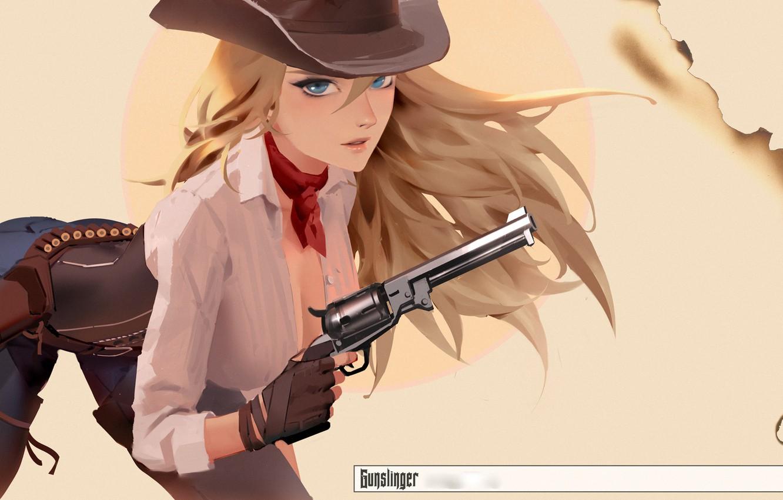 Photo wallpaper girl, gun, weapon, hat, anime, art, blue eyes, blonde, artwork, revolver, scarf, shirt, gloves, girls …