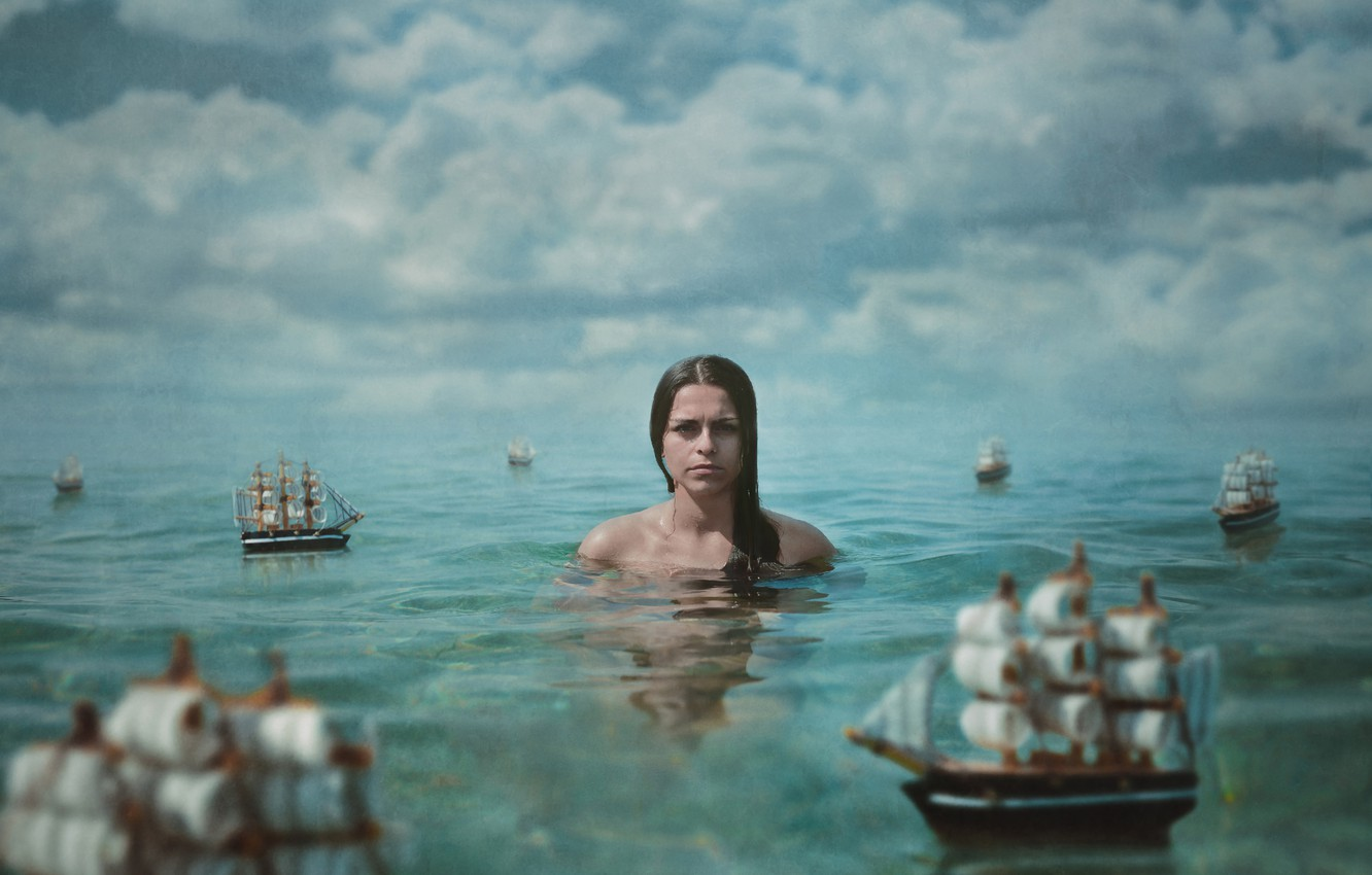 Photo wallpaper sea, water, girl, clouds, the situation, texture, boats, sailboats