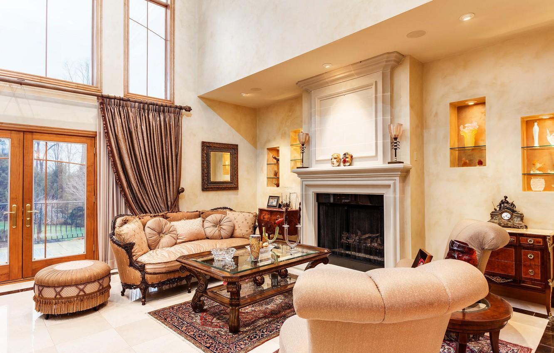 Photo wallpaper design, chair, fireplace, living room, decor
