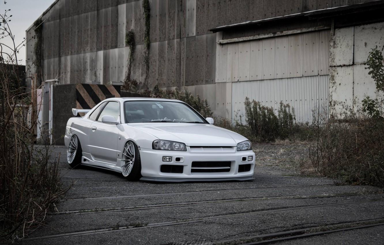 Photo wallpaper white, nissan, turbo, white, wheels, skyline, japan, Nissan, jdm, tuning, gtr, front, r34, face, low, …