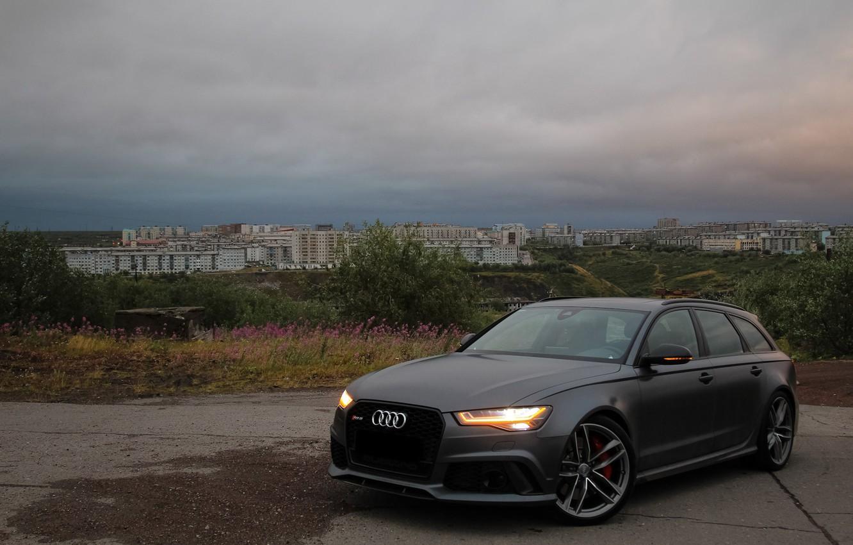 Photo wallpaper Audi, City, Green, RS6, VAG, Nardo gray, Audi LED