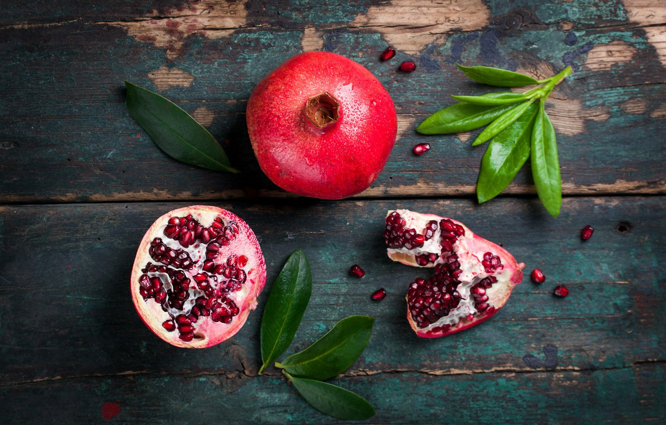 Photo wallpaper leaves, grain, wood, fruit, garnet, pomegranate