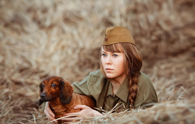 Photo wallpaper look, girl, dog, soldiers, hay, Dachshund, braid, pussy, photographer Svetlana Nicotine, Natalia Emelyanova
