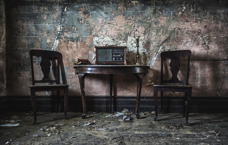 Photo wallpaper table, chairs, radio