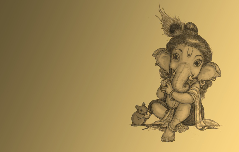 Photo wallpaper elephant, mouse, flute, Ganesh