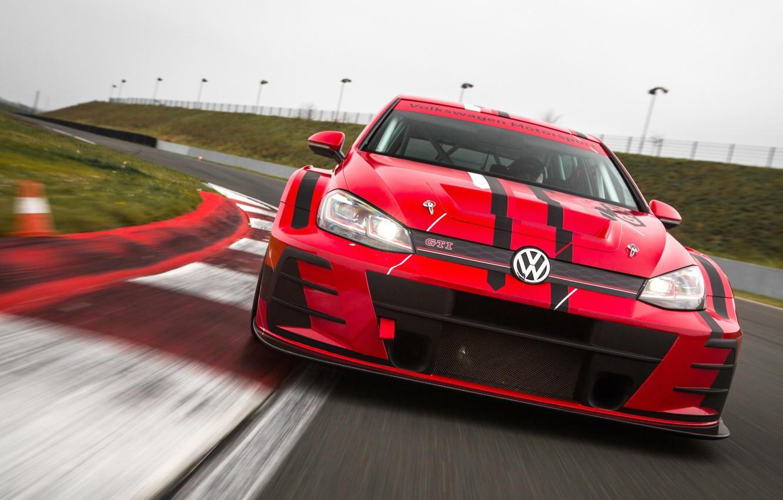 Photo wallpaper Volkswagen, racing track, Golf, GTI, 2018, TCR