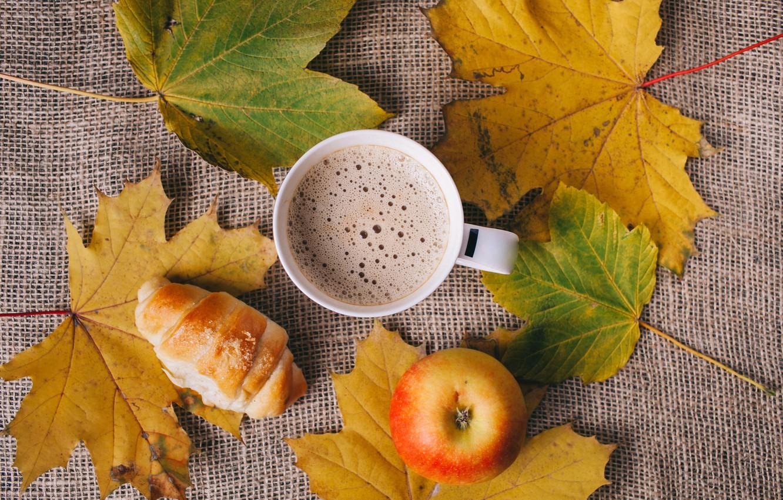 Photo wallpaper leaves, Apple, Coffee