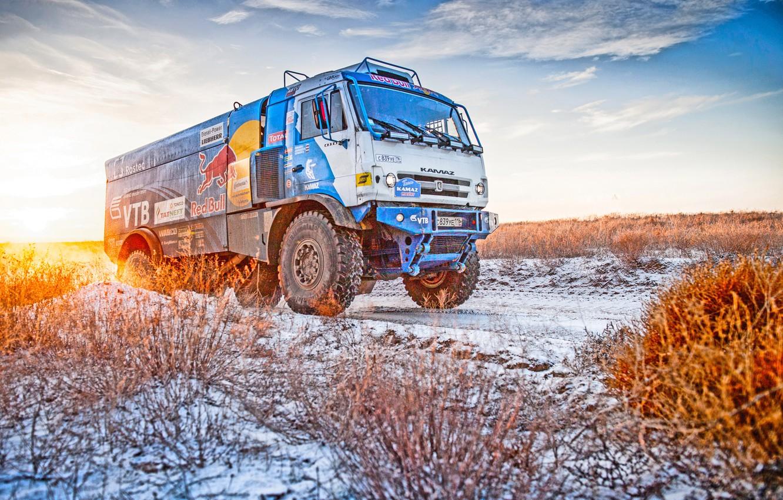 Photo wallpaper Winter, Snow, Truck, Master, Kamaz, Rally, Dakar, KAMAZ