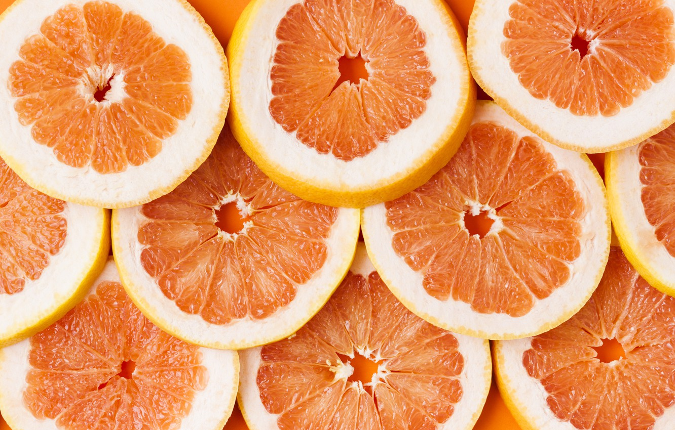Photo wallpaper background, slices, grapefruit, fruit, orange, grapefruit, slice