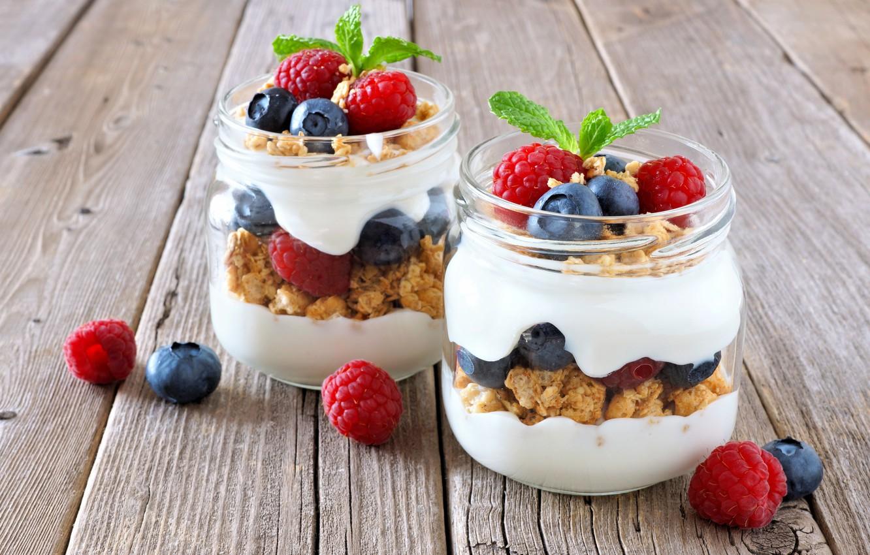 Photo wallpaper berries, Breakfast, jars, muesli, yogurt