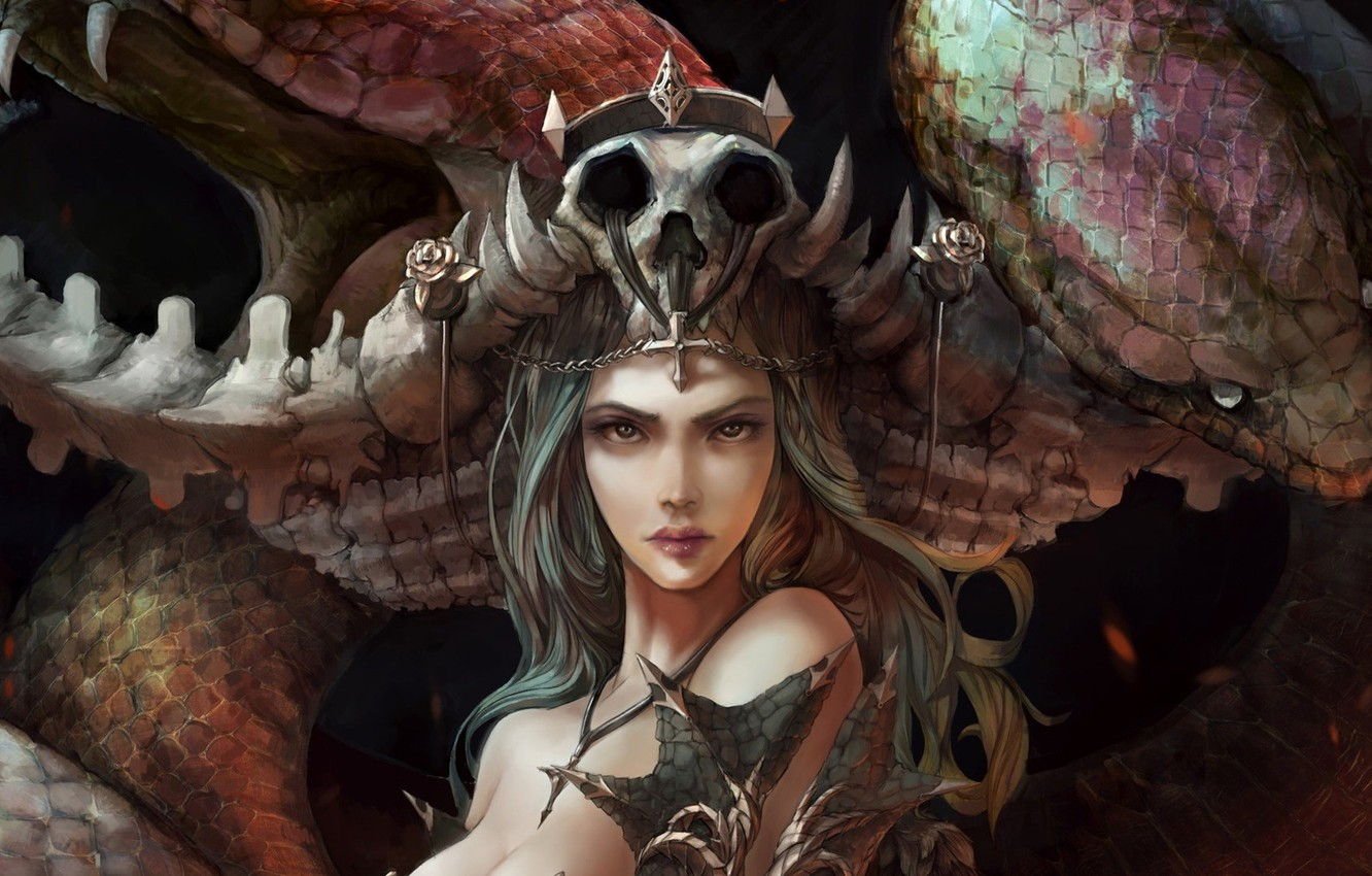 Wallpaper Sake Girl Fantasy Snake Queen Crown Face Artwork