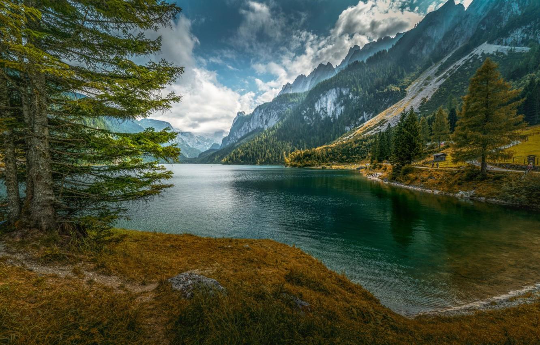 Photo wallpaper water, mountains, lake, spruce
