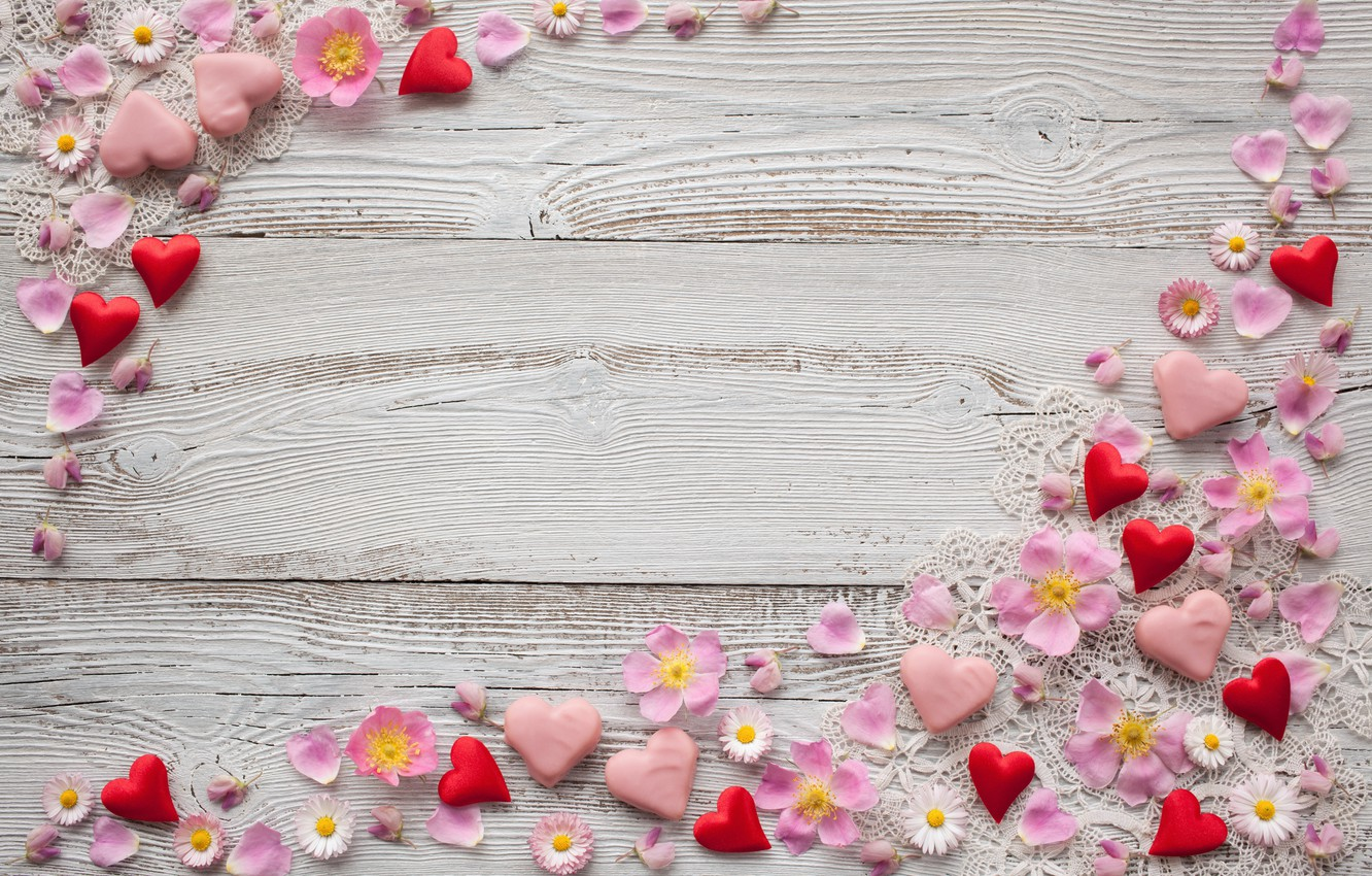 Photo wallpaper flowers, background, chamomile, petals, hearts, pink, decor, marzipan