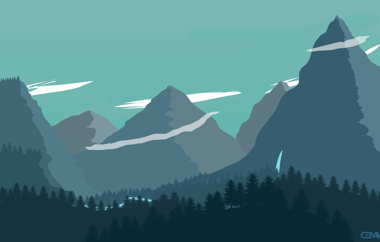 Photo wallpaper Mountains, The game, Forest, Landscape, Art, Campo Santo, Firewatch, Fire watch
