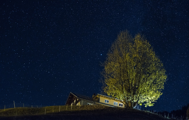 Photo wallpaper stars, night, house, tree