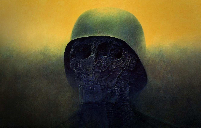 Photo wallpaper death, skull, horror, helmet, art, mutant, orbit, Zdzisław Beksiński
