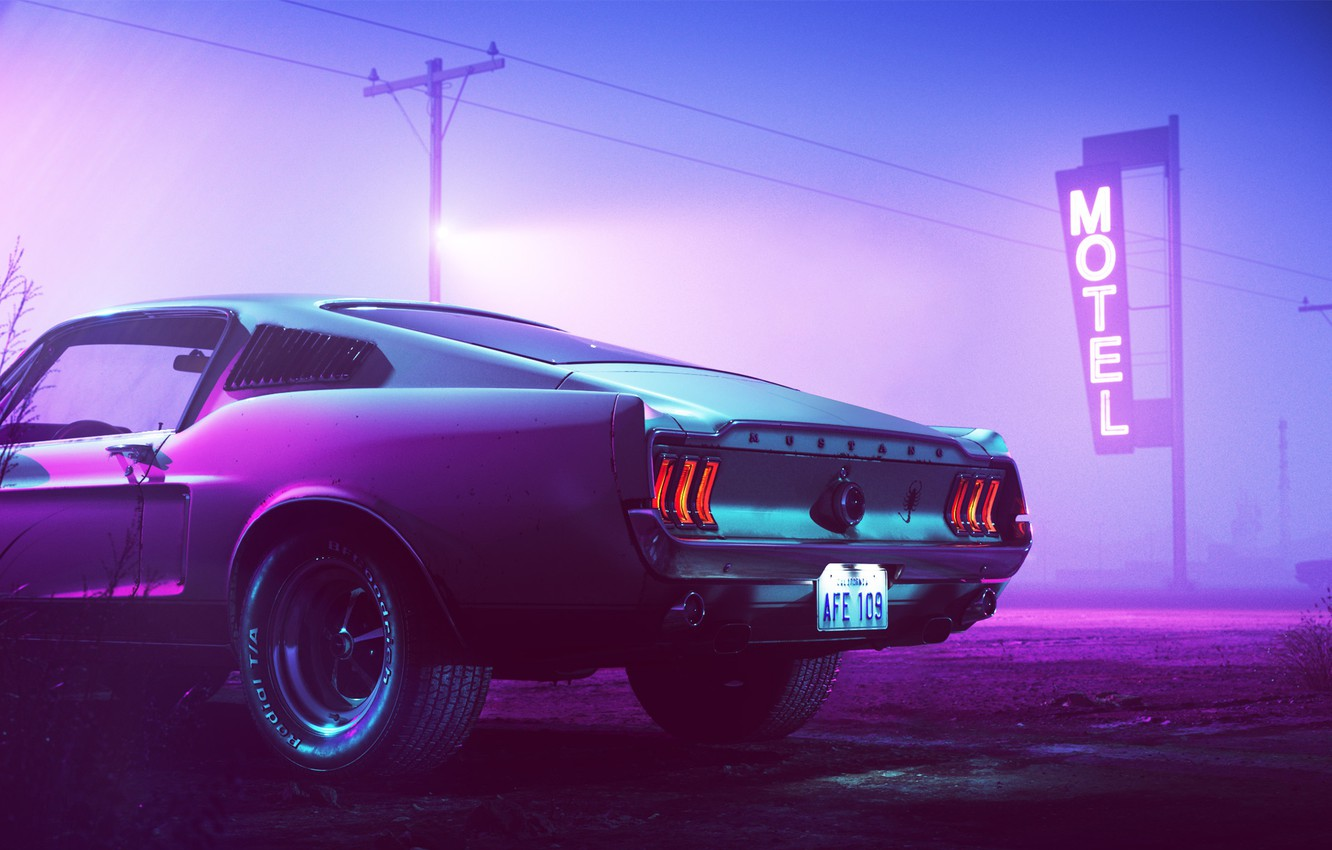 Photo wallpaper 1969, Ford Mustang, Neon, Motel