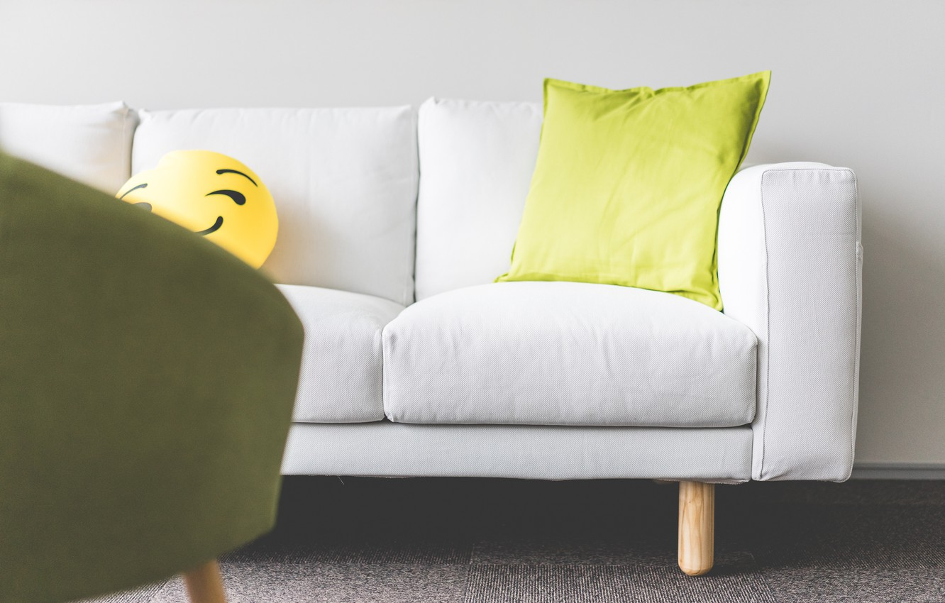 Photo wallpaper sofa, pillow, smiley