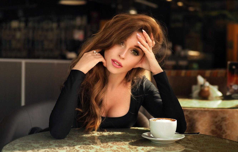 Photo wallpaper girl, cafe, Nastya, Dmitry Belyaev