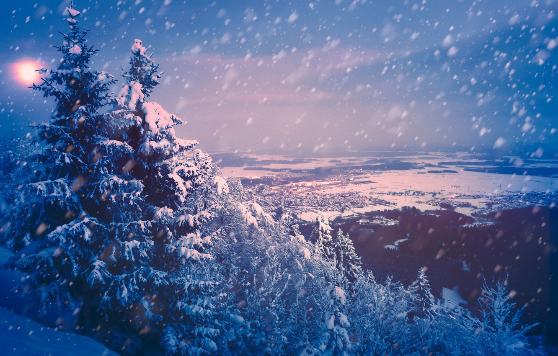 Photo wallpaper winter, snow, mountains
