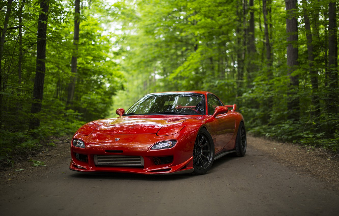 Photo wallpaper road, forest, red, sports car, Mazda RX-7