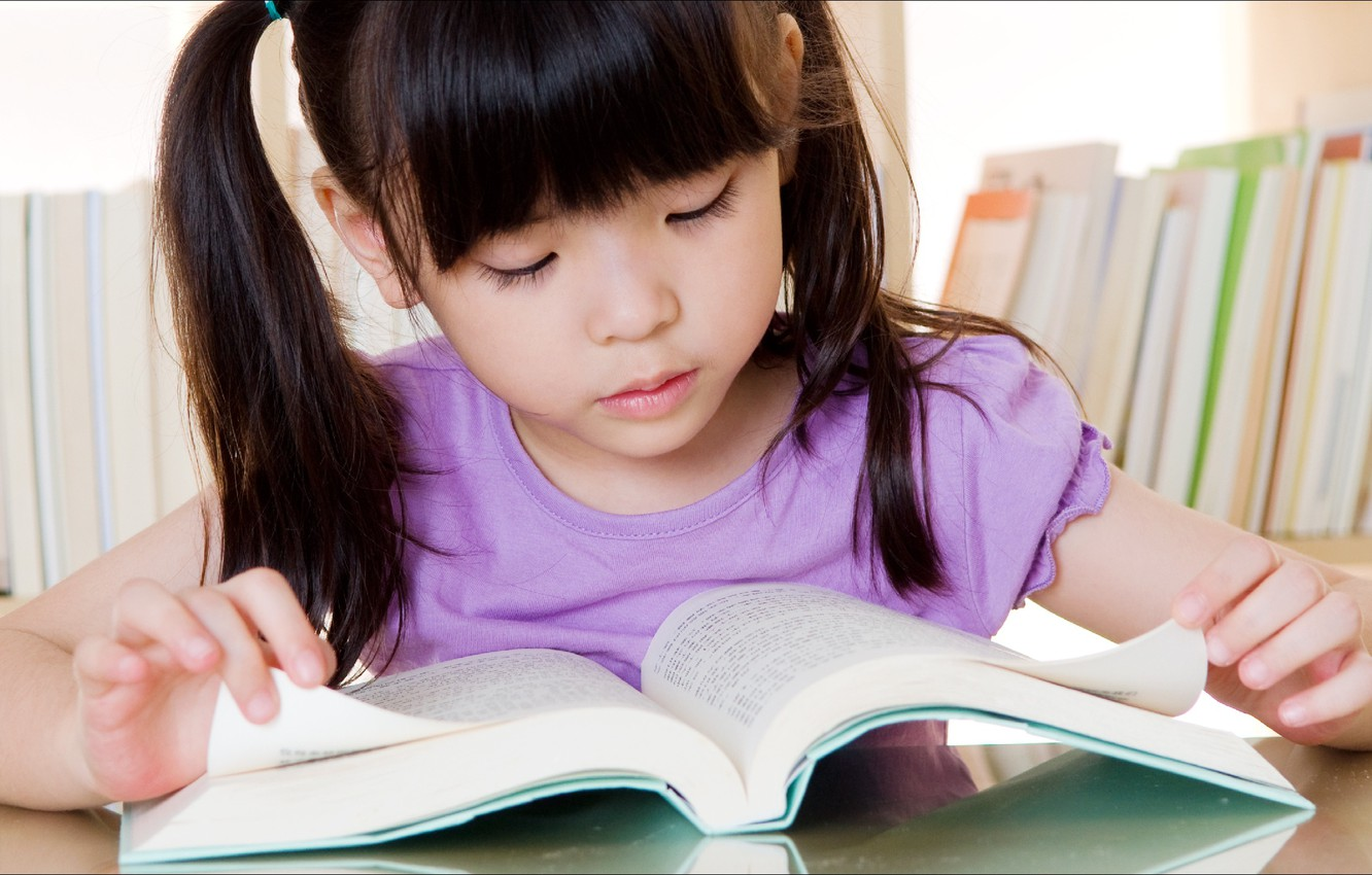 Photo wallpaper Girl, good, book, kid