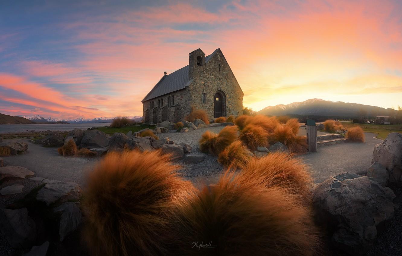 Photo wallpaper sunrise, church, Tekapo