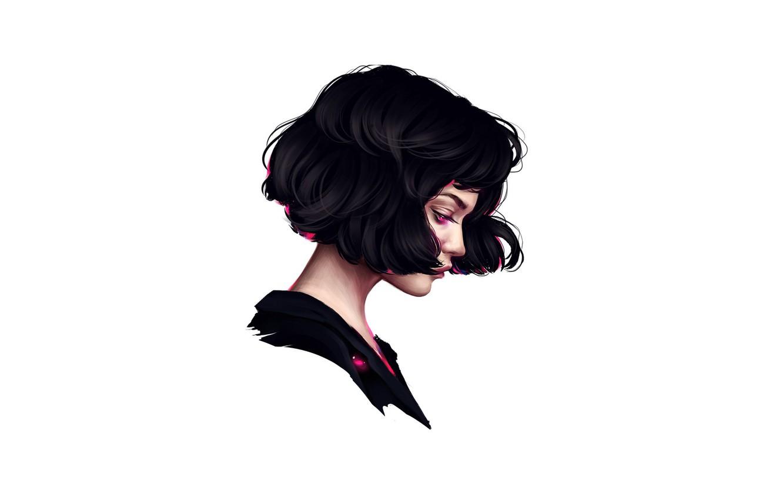 Photo wallpaper girl, face, brunette, profile