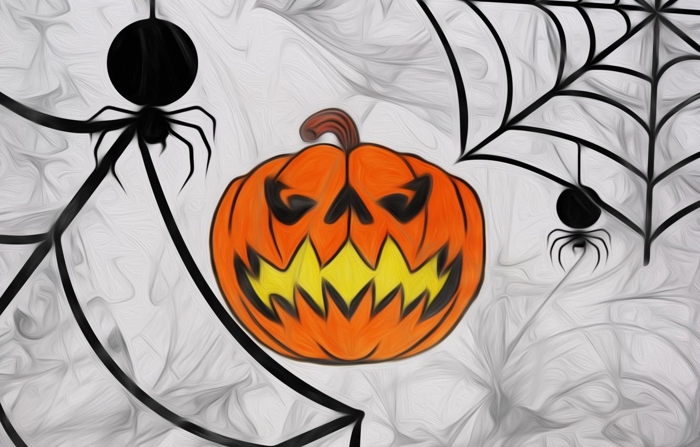 Photo wallpaper figure, web, Halloween, pumpkin, Halloween