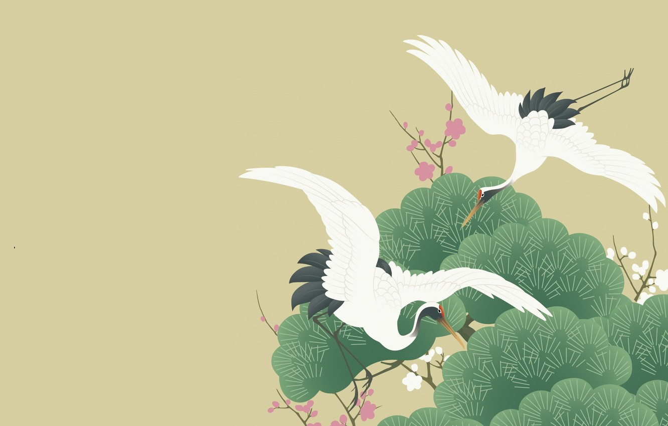 Photo wallpaper trees, figure, vector, spring, Sakura, art, pair, flight, crane