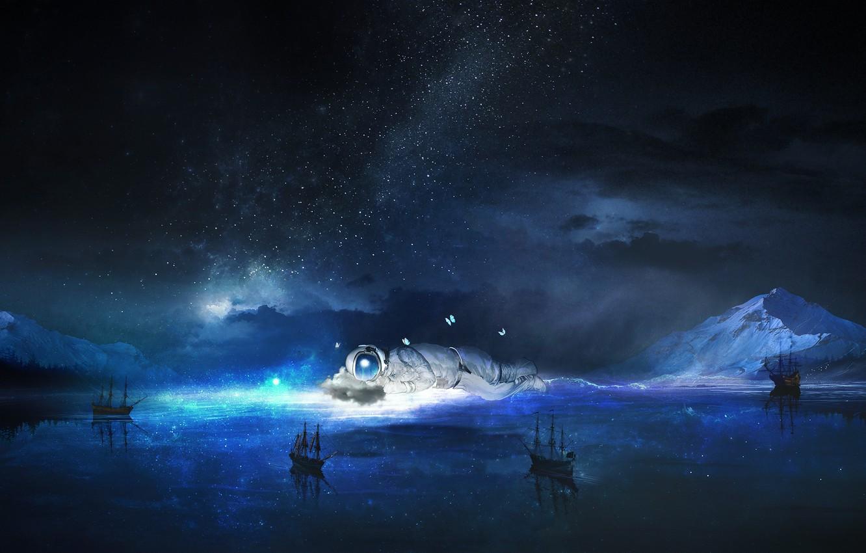 Wallpaper sea, the sky, water, stars