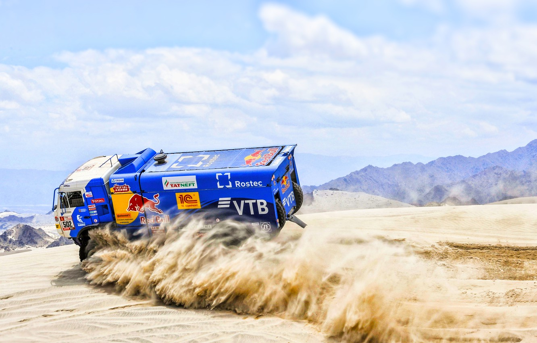 Photo wallpaper Sand, Speed, Truck, Race, Master, Russia, Kamaz, Rally, Dakar, KAMAZ-master, Dakar, Rally, KAMAZ, The roads, …