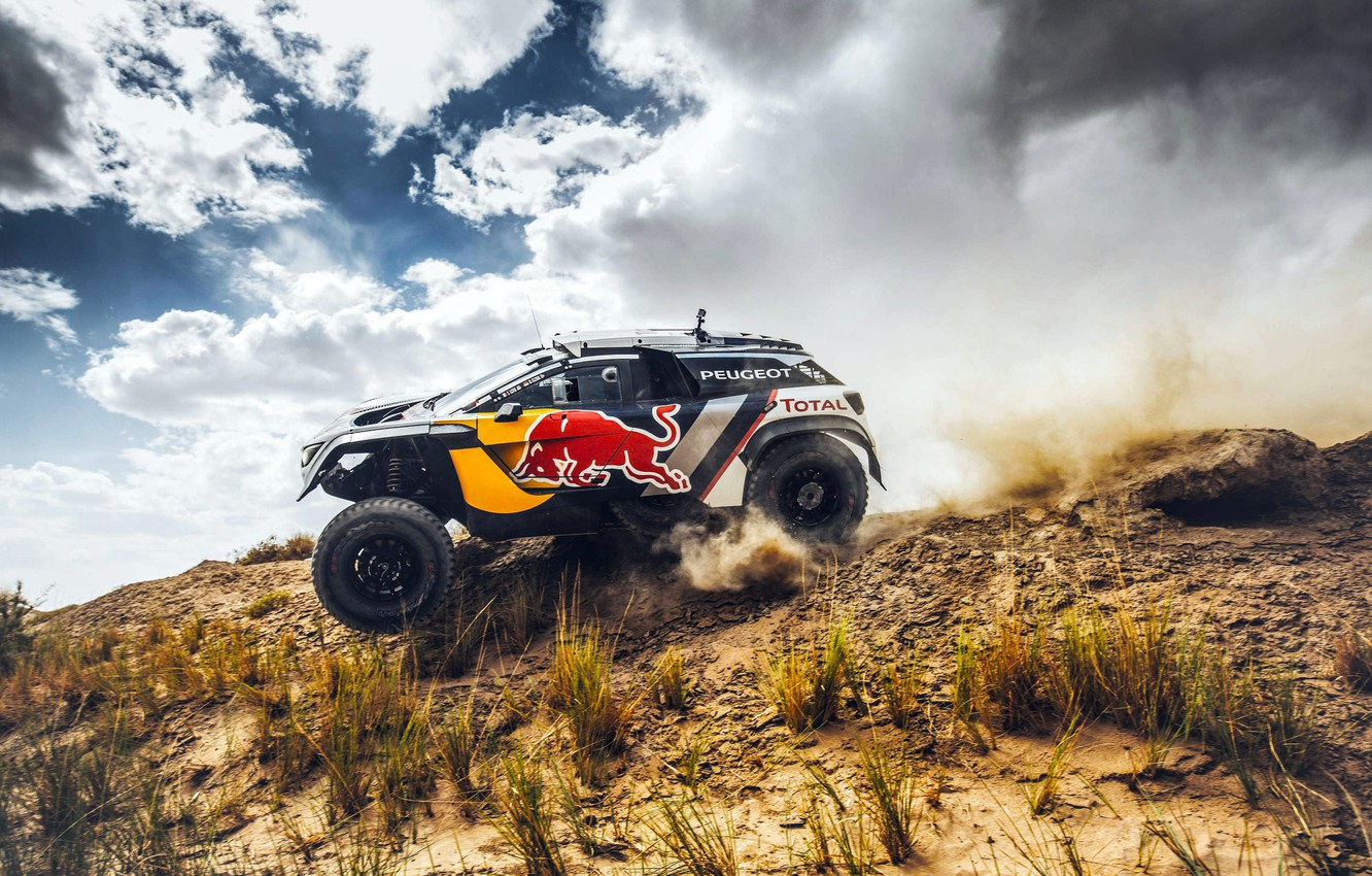 Photo wallpaper The sky, Sport, Speed, Race, Peugeot, Red Bull, Side, Rally, Rally, Sport, RedBull, DKR, 3008, …