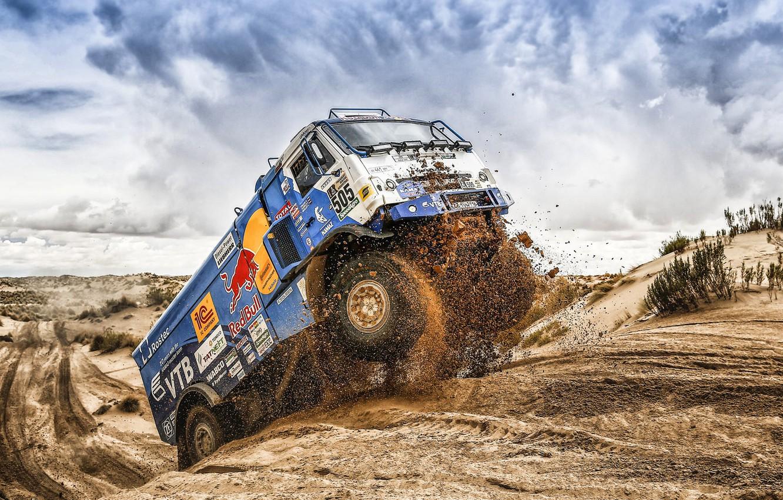 Photo wallpaper The sky, Sand, Nature, Sport, Truck, Race, Master, Russia, Beast, Kamaz, Rally, Dakar, Dakar, Rally, …