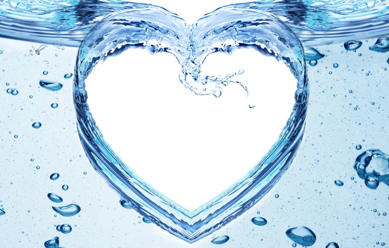 Photo wallpaper water, squirt, pattern, heart