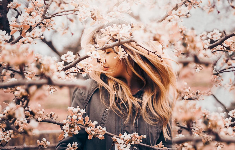 Photo wallpaper girl, branches, mood, spring, Apple, flowering