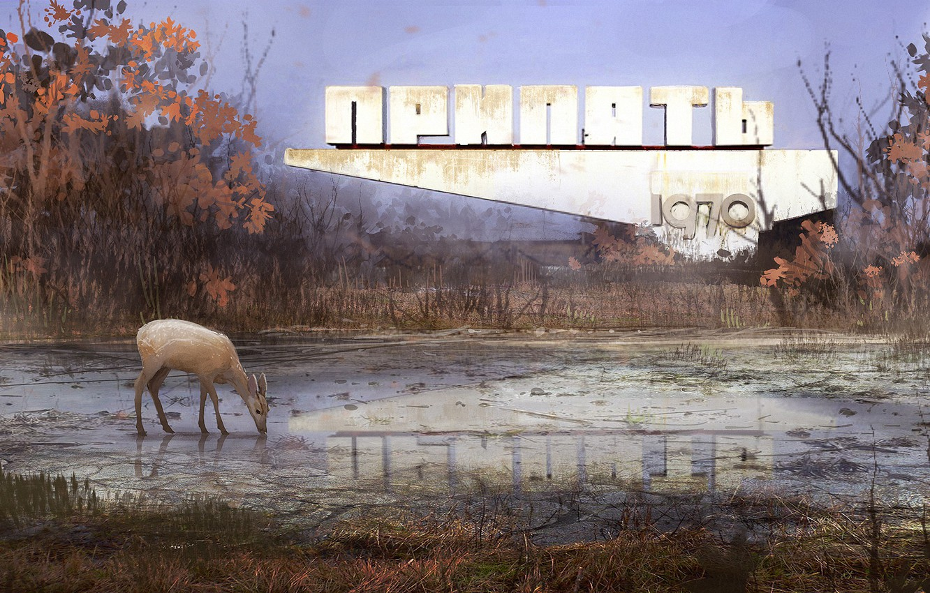 Photo wallpaper reflection, vegetation, deer, Pripyat, Welcome to Pripyat