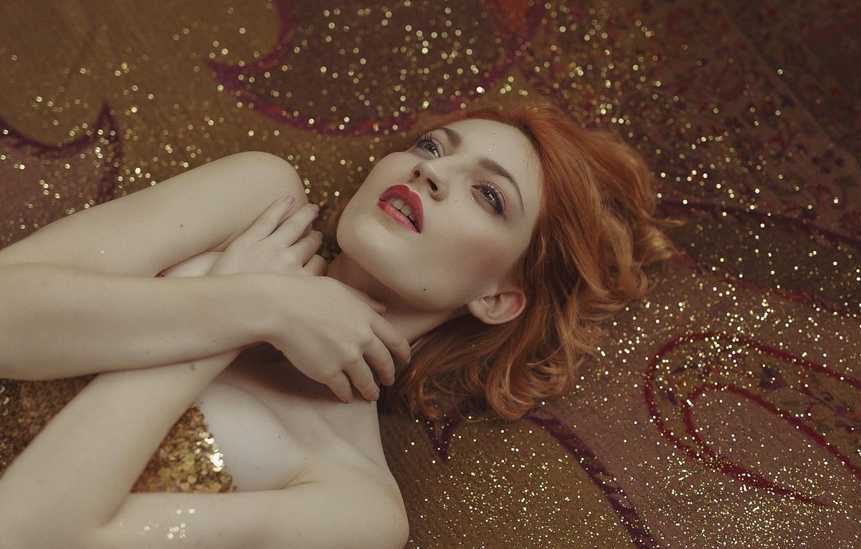 Photo wallpaper girl, face, background, model, lies, brown hair, glitter