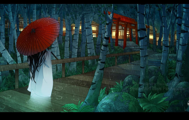 Photo wallpaper drops, rain, woman, home, the evening, umbrella, Japan, bridges, the light in the Windows, birch …