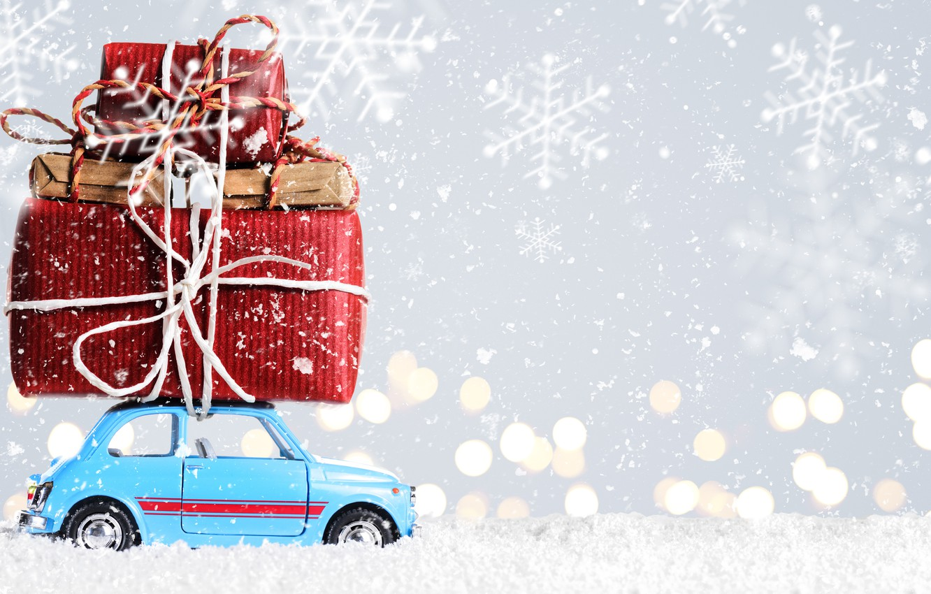 Wallpaper Car Snow New Year Christmas Gifts Christmas Snow Merry Christmas Xmas Decoration Gifts Holiday Celebration Images For Desktop Section Novyj God Download