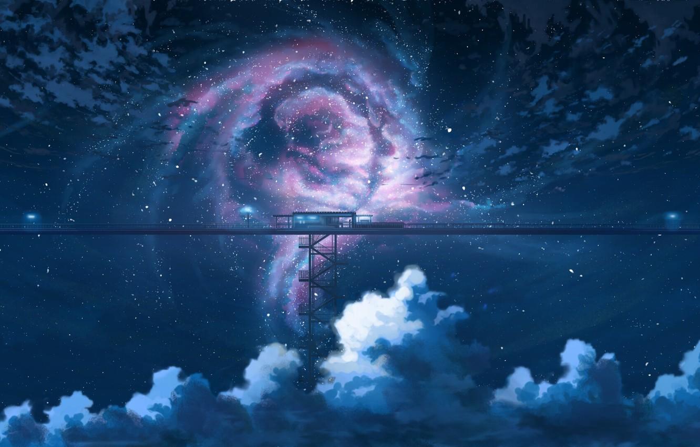 Photo wallpaper the sky, night, station, fantasy, K.Hati