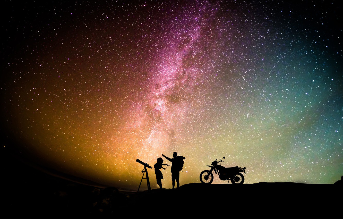 Photo wallpaper space, romance, stars, starry sky, starry sky, romantic couple