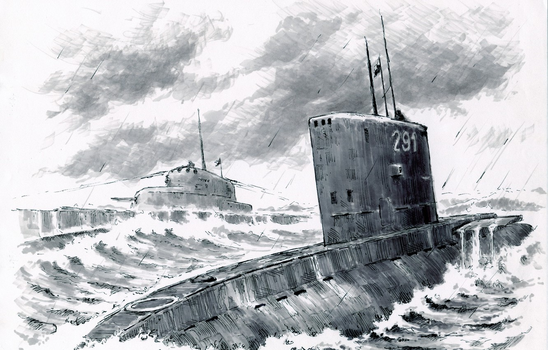 Photo wallpaper sea, wave, submarines