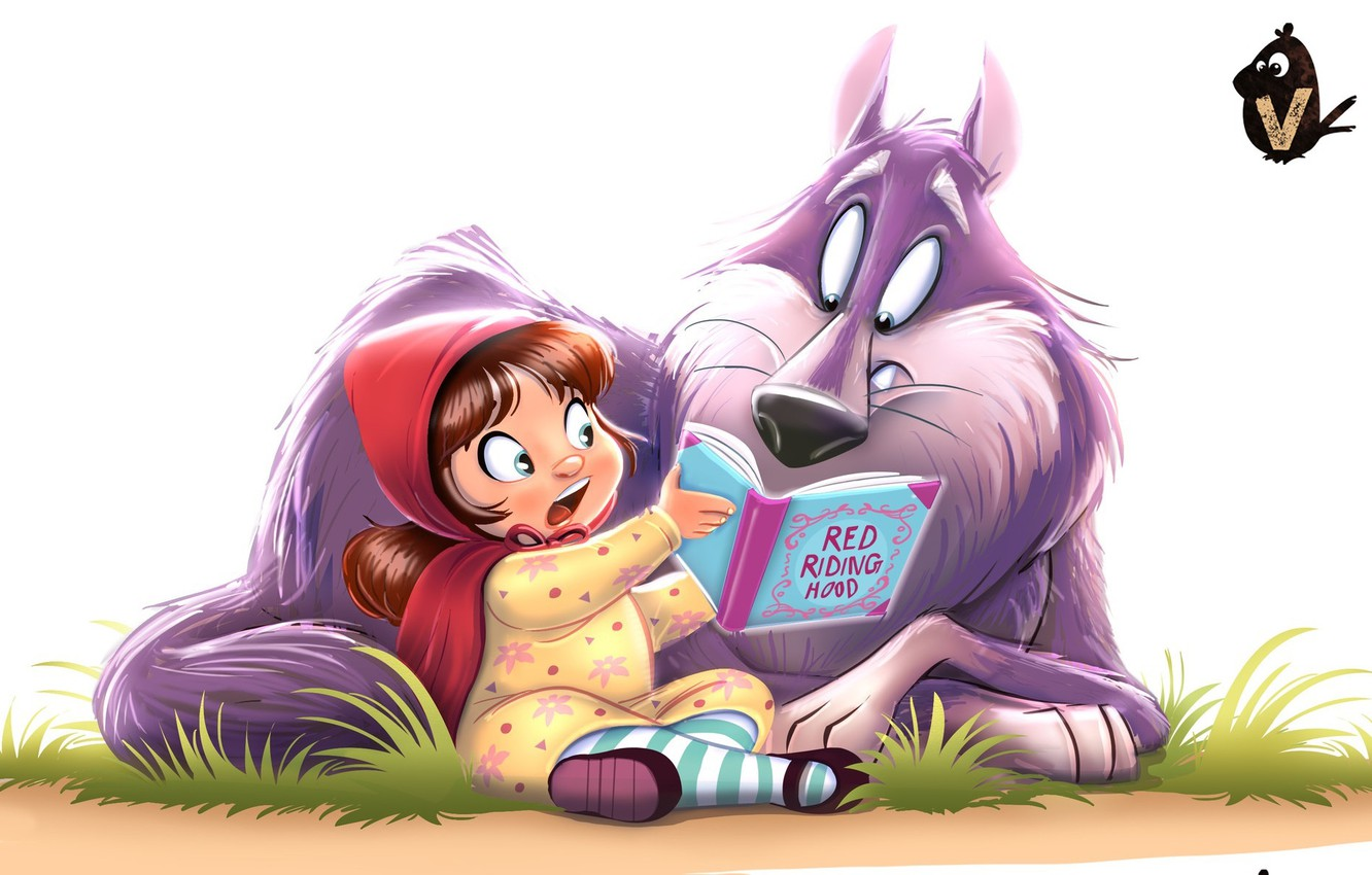 Photo wallpaper wolf, tale, little red riding hood, art, book, children's, Vipin Jacob, Red and Wolfie