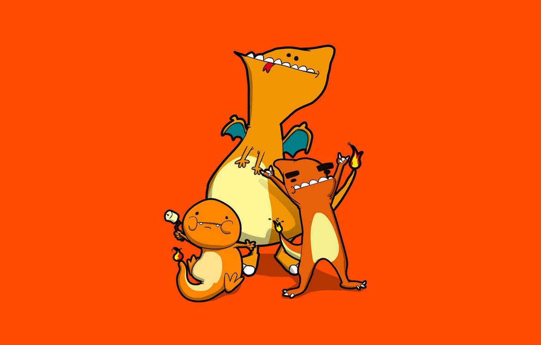 Photo wallpaper orange, fire, flame, caricature, fire, orange, pokemon, marshmallows, Charmander, Charmeleon, Charizard, Charizard, Charmander, marshmallow, Charmeleon